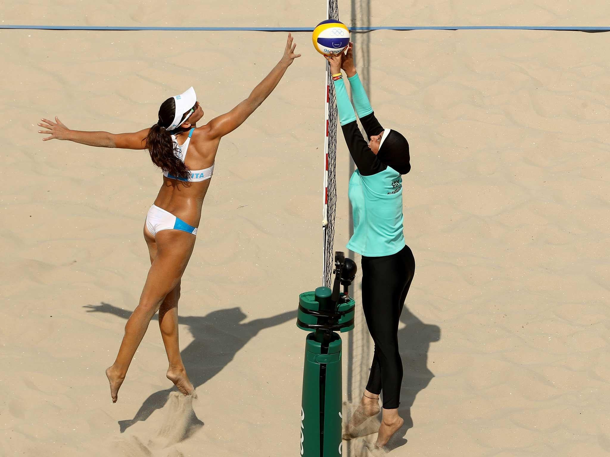 Beach volleyball players' contrasting attire sparks debate
