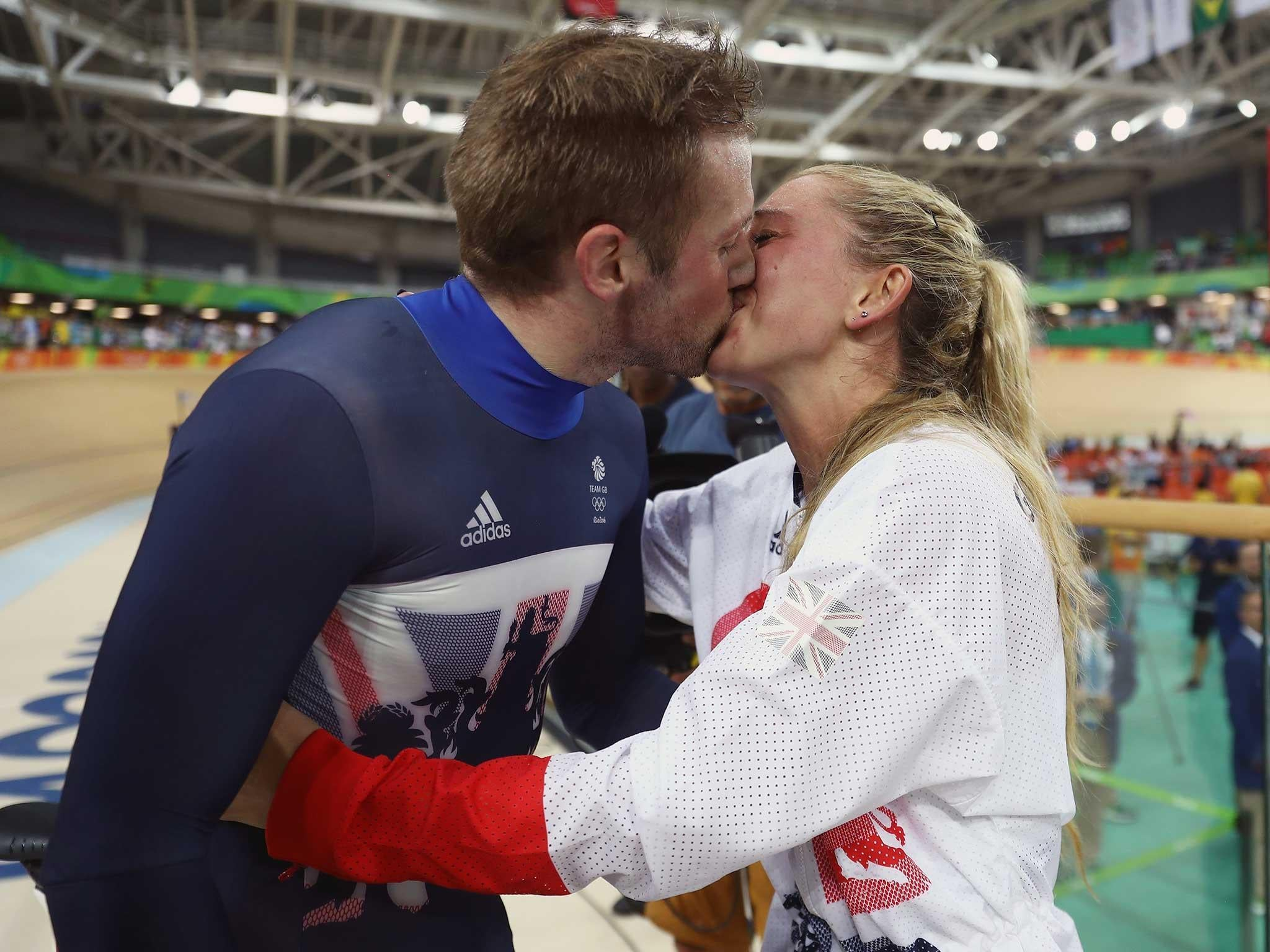 Gold medalist couple Laura Trott and Jason Kenny in emotional moment