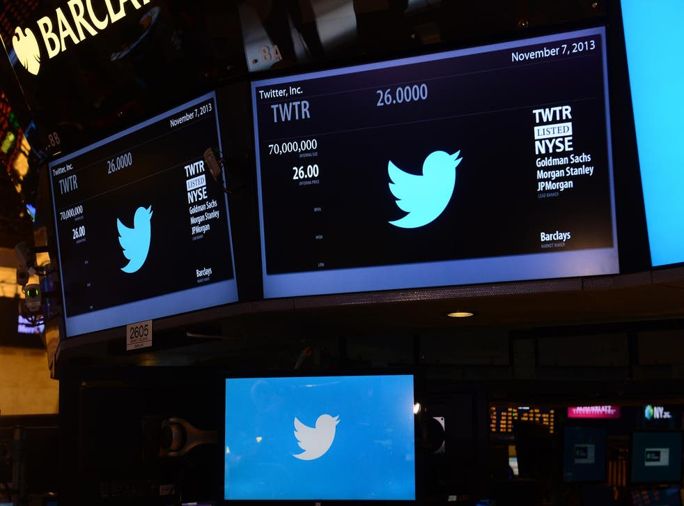 The logo of Twitter and the symbol on which Twitter's stock will be traded (TWTR) is viewed on the floor of the New York Stock Exchange (NYSE) on November 7, 2013 in New York