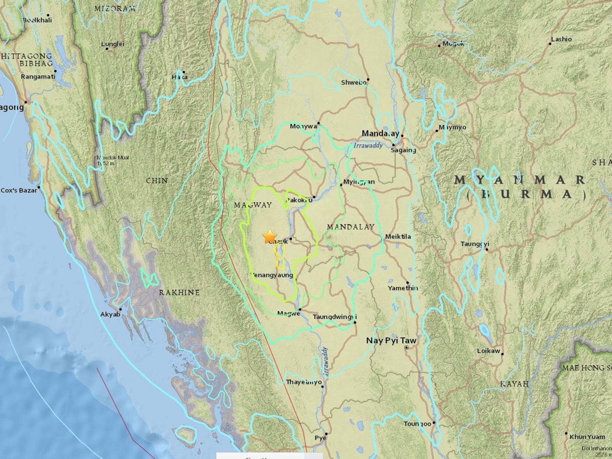 Burma earthquake: 6.8 magnitude quake strikes in centre of country