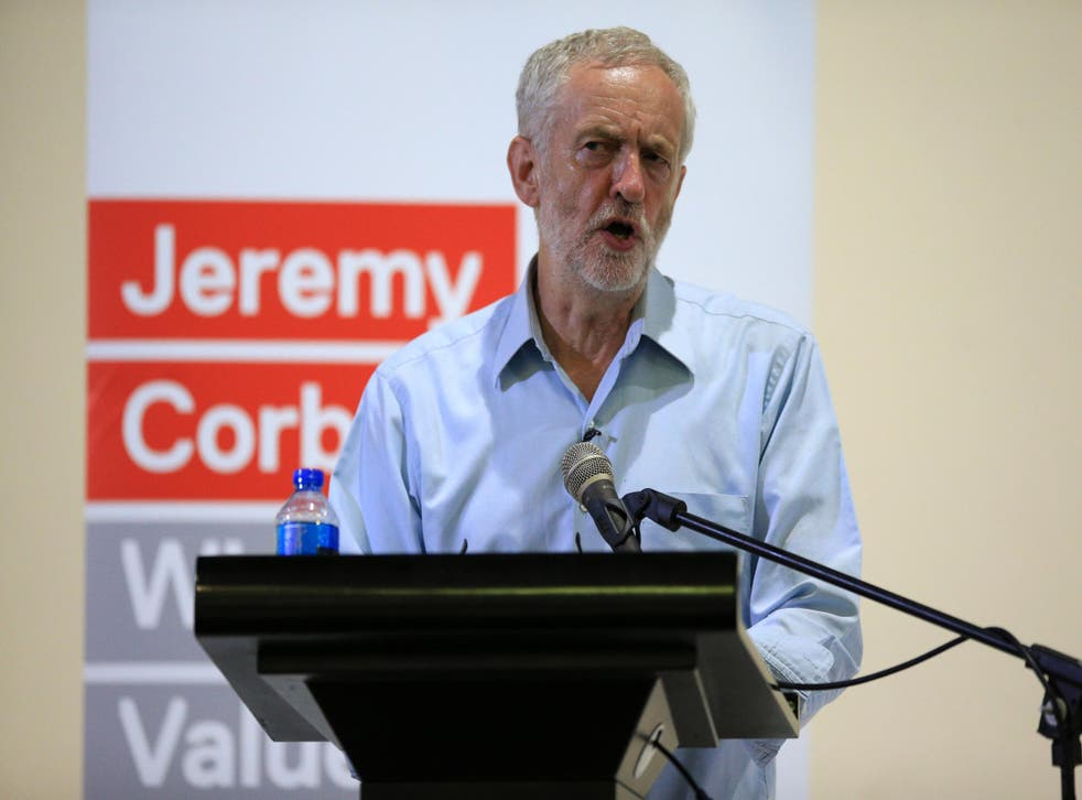 Labour leader Jeremy Corbyn speaks to supporters