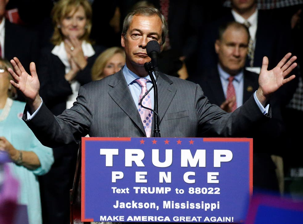 Nigel Farage, ex-UKIP leader joined Donald Trump at a rally in Jackson, Mississippi