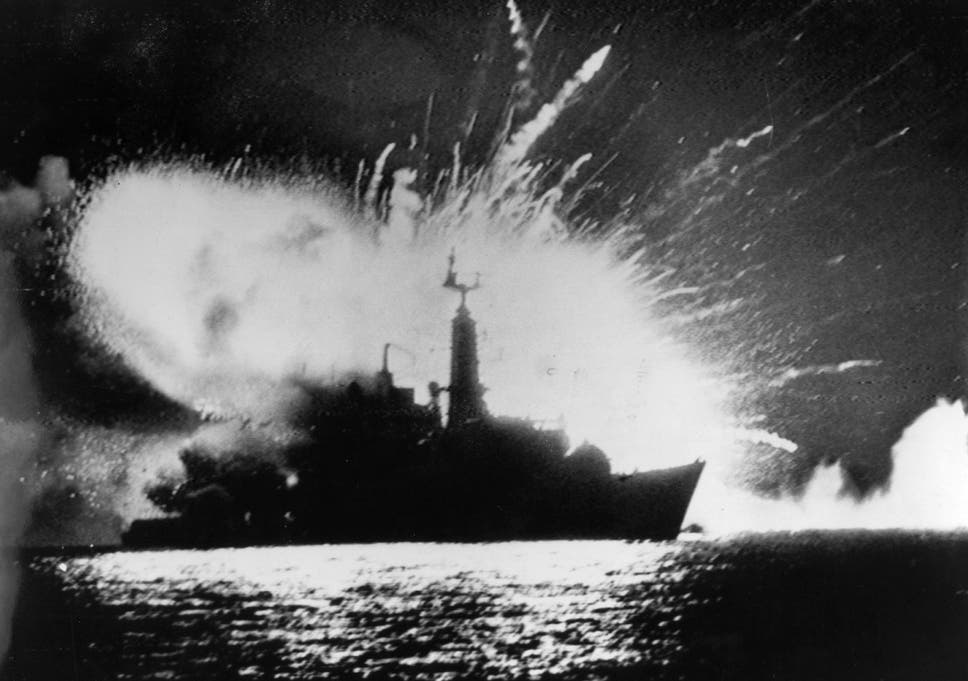 British Royal Navy frigate HMS Antelope explodes after being hit by Skyhawk jets