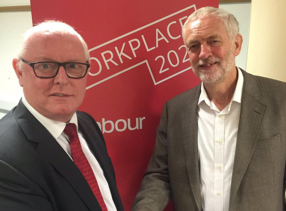 Ronnie Draper and Jeremy Corbyn in 2015