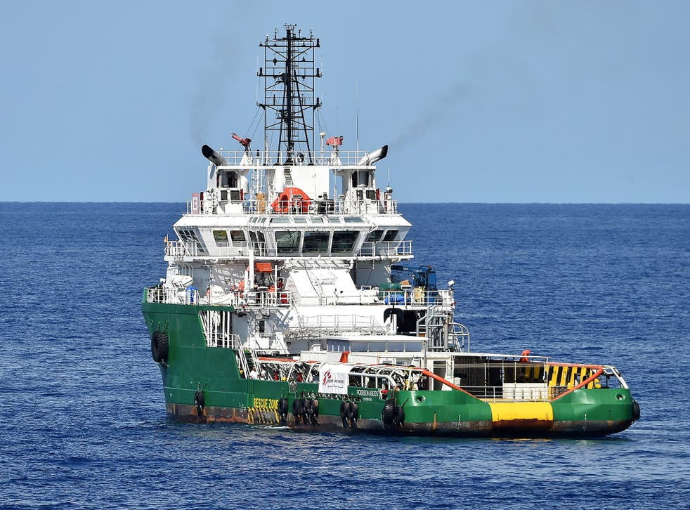 The Medecins Sans Frontieres (Doctors Without Borders) ship Bourbon Argos in the southern Mediterranean Sea