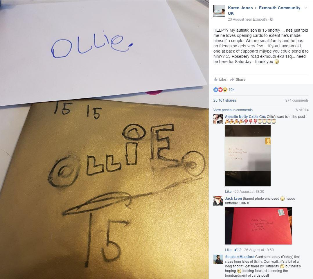 Autistic boy receives 20,000 birthday cards after mother's