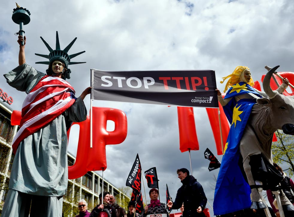 Protesters rally against the TTIP and CETA free trade agreements, April 2016
