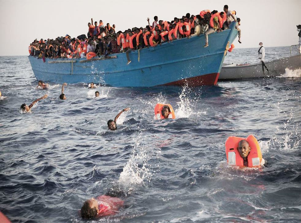 One of the overcrowded wooden boats in rescue operations off Libya on 29 August(AP)