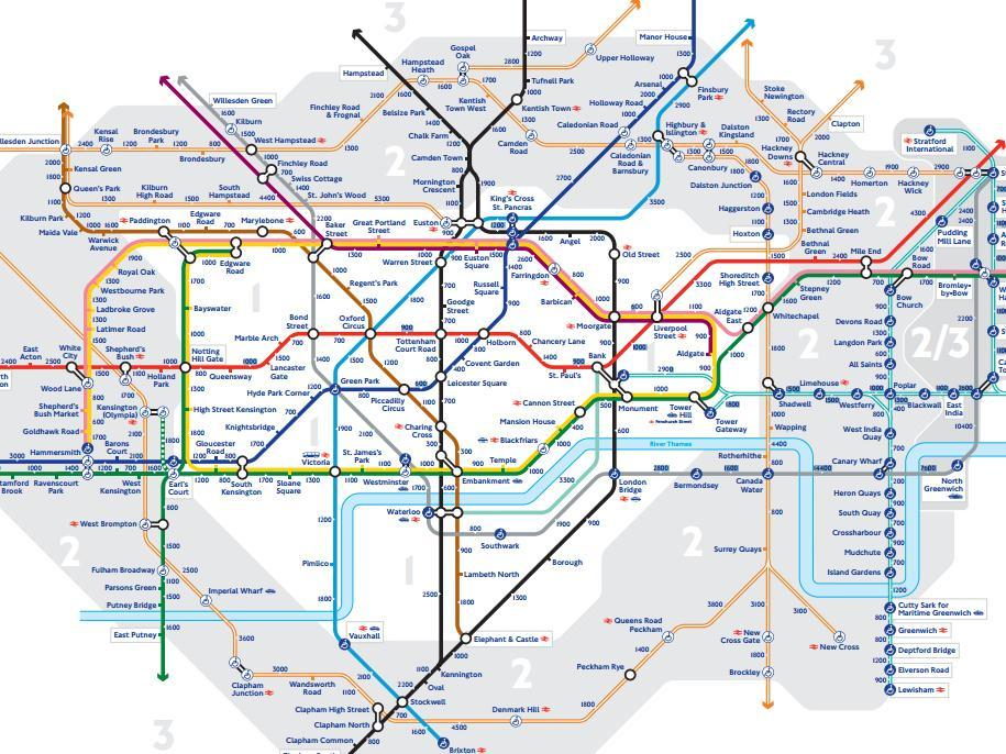 Map Of Uk 1500.Tfl Releases Walk The Tube Map Showing Number Of Steps Between