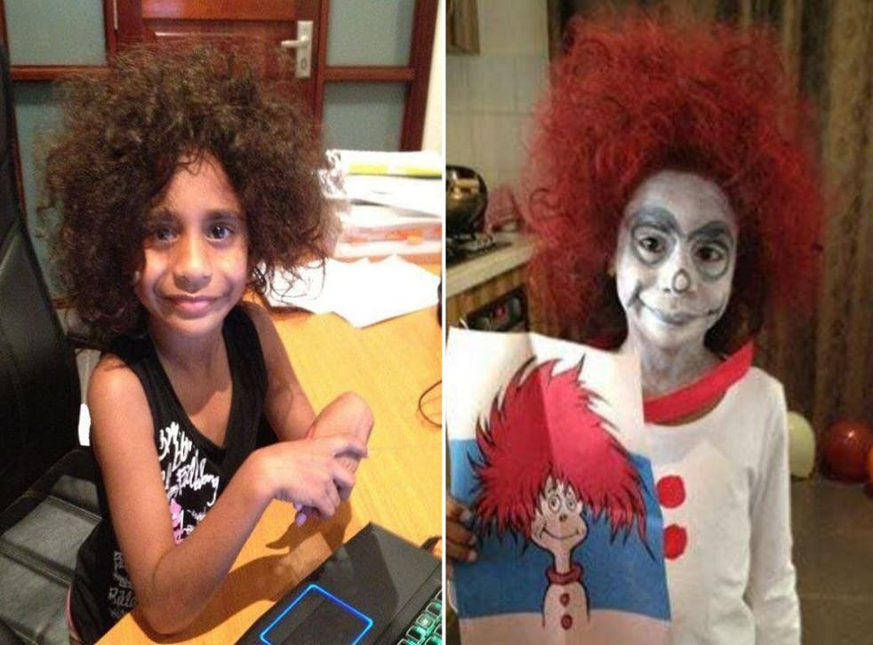 A mother dresses her daughter up as a Dr Seuss character