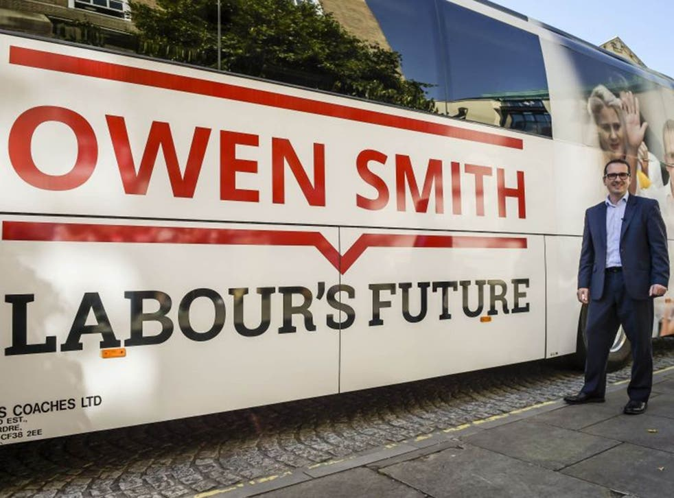 Labour leadership candidate Owen Smith arrives in Bristol in his new battle bus as he embarks on a UK wide campaign