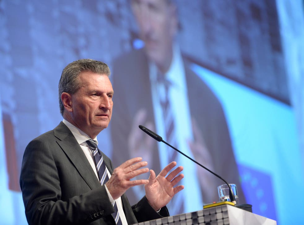 EU Commissioner for Digital Economy and Society Günther Oettinger speaking at an event in Hanover, Germany