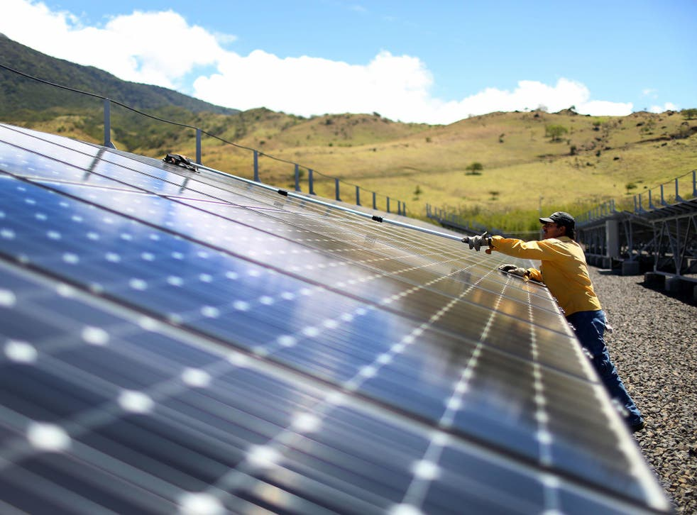 Solar panels, including this one in Guanacaste, Costa Rica, produced a small portion of this 98.1 per cent renewable energy