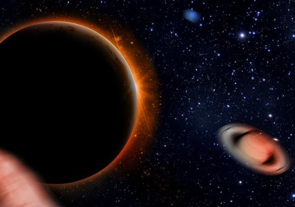 Artist's impression showing Planet Nine causing other planets in the solar system to be hurled into