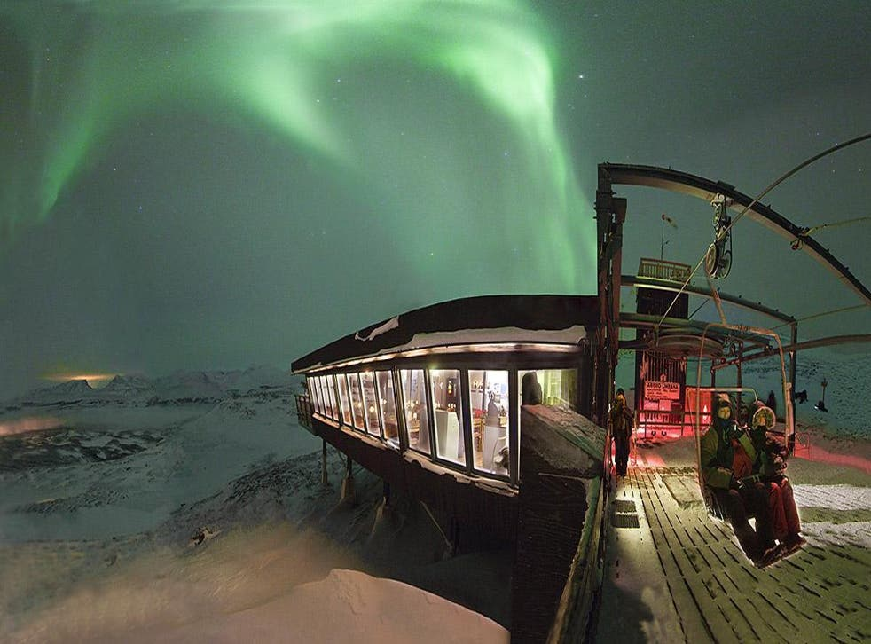 Spot the lights from the chairlift at Abisko Mountain Station, Sweden