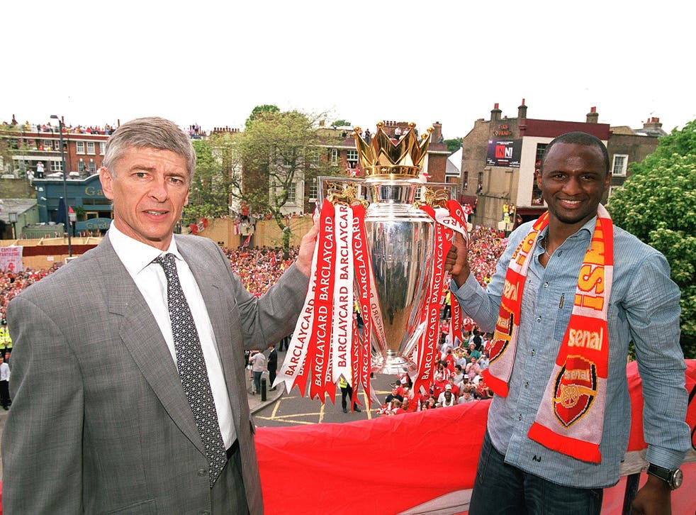Patrick Vieira with his former manager Arsene Wenger