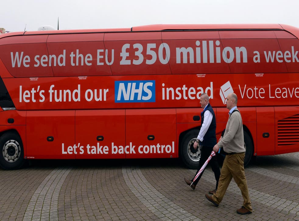 Change Britain makes no mention of NHS funding despite a message on the Vote Leave battle bus implying the £350 million a week sent to the EU would 'fund our NHS instead'