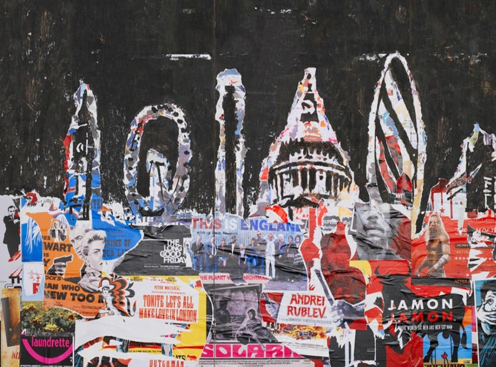 London painted with movie posters