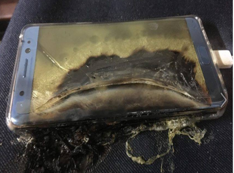One of Samsung's phones after it had exploded