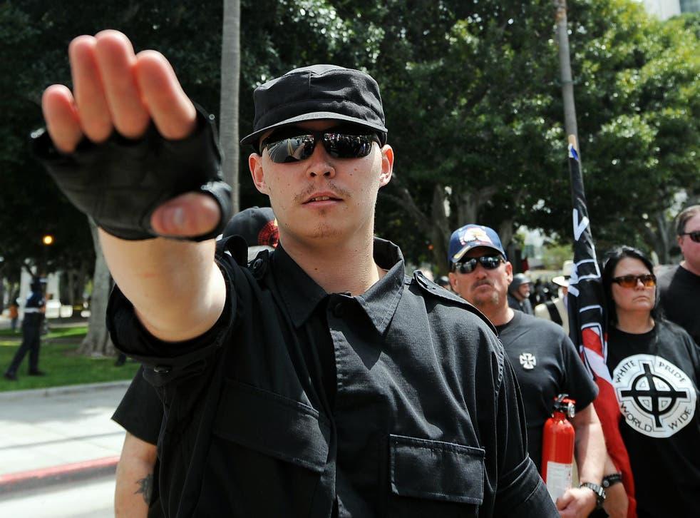 A member of the American National Socialist Movement <em>Gabriel Buoys/Getty</em>