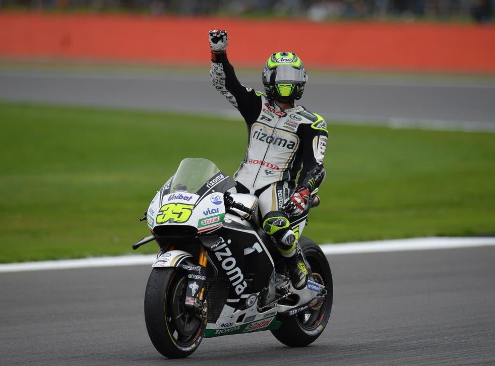 Cal Crutchlow celebrates finishing second in the British Grand Prix