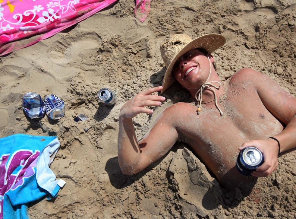 A drunken student enjoys a break from university in Texas