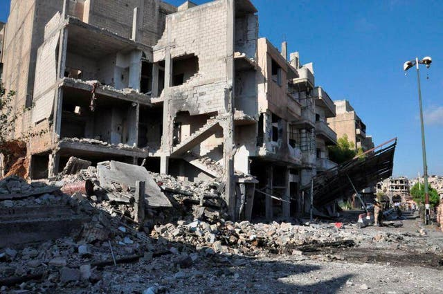 General view shows the damage at a site of an explosion in Bab Tadmor in Homs, Syria in this handout picture provided by SANA on 5 September, 2016
