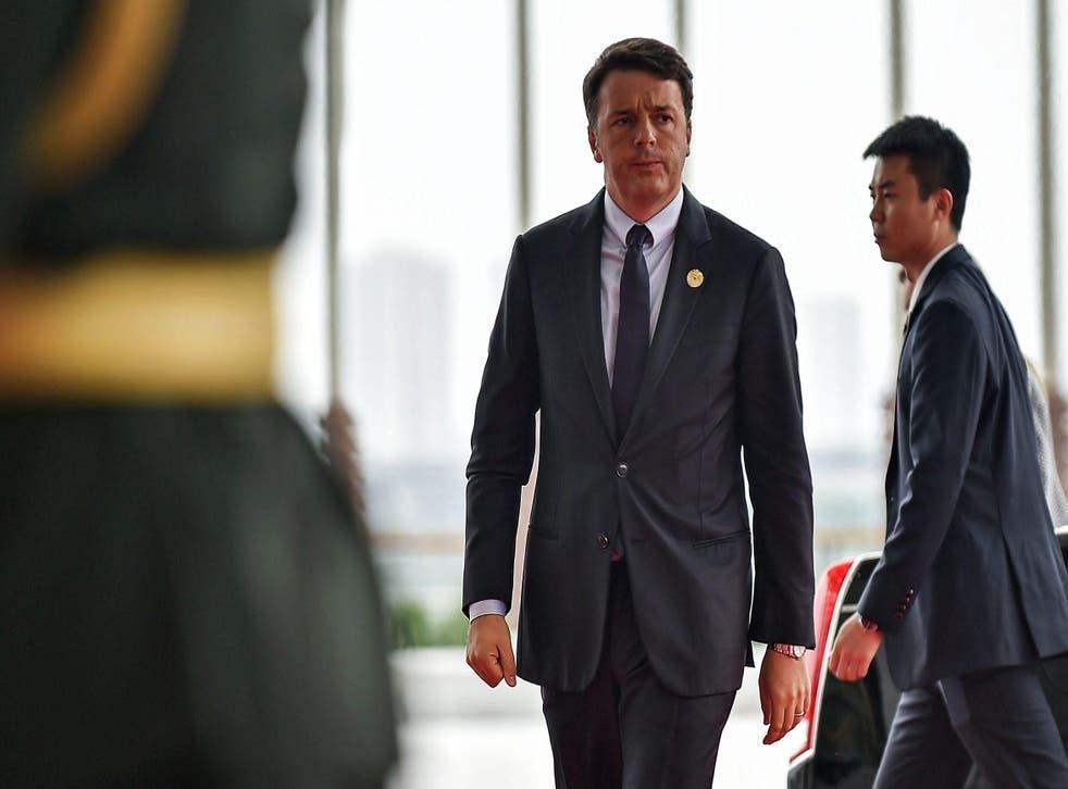 Matteo Renzi back on dry land at the G20 summit in Hangzhou