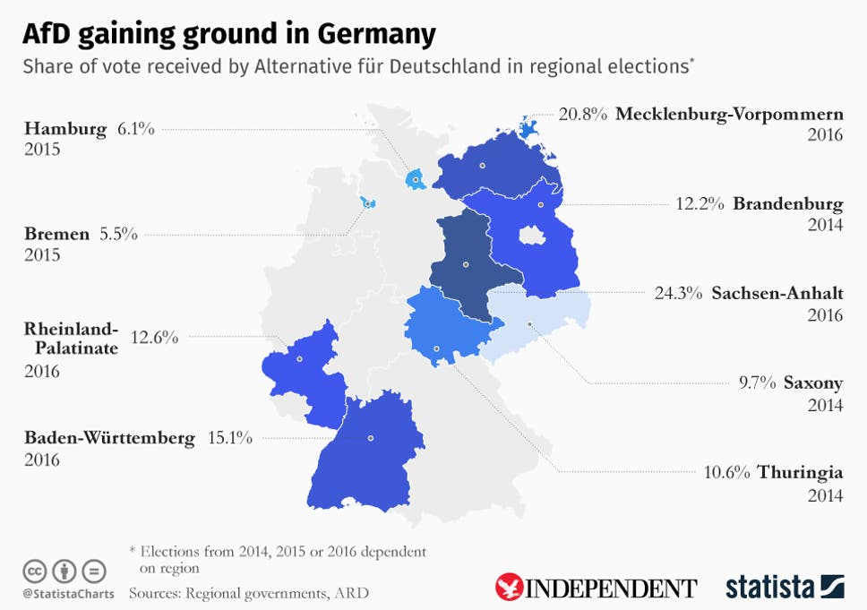map showing afds results across germany in regional elections