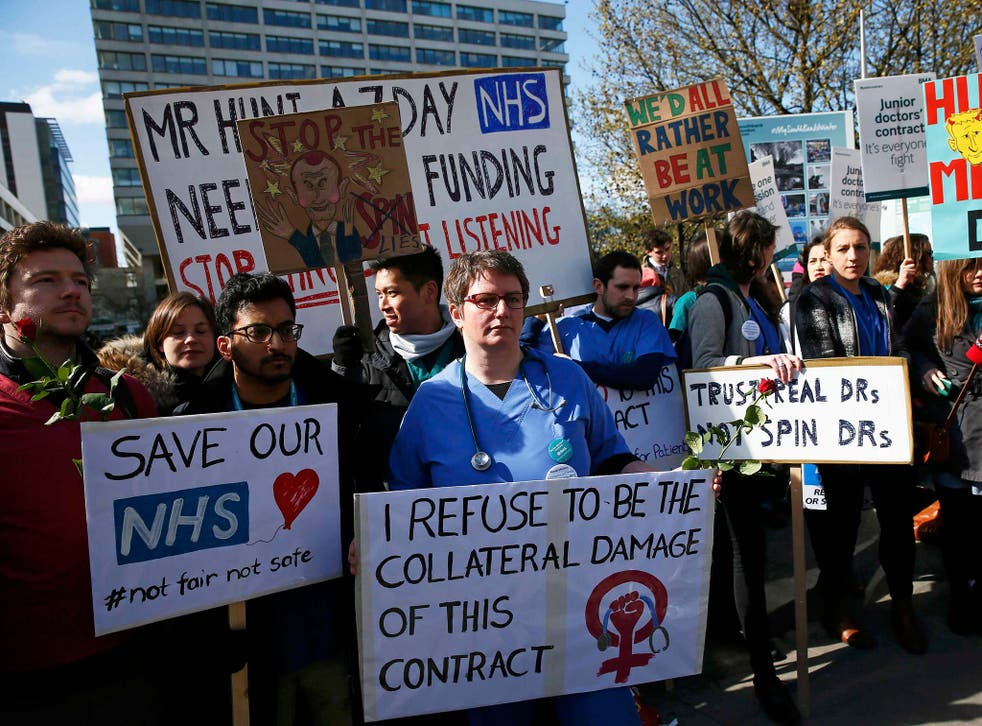 <p>Doctors protesting in April 2016 during the dispute over planned contract changes </p>