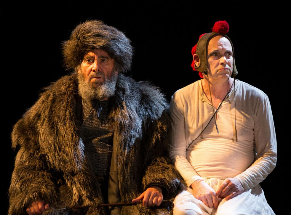 Antony Sher as King Lear and Graham Turner as The Fool in King Lear at the Royal Shakespeare Theatre