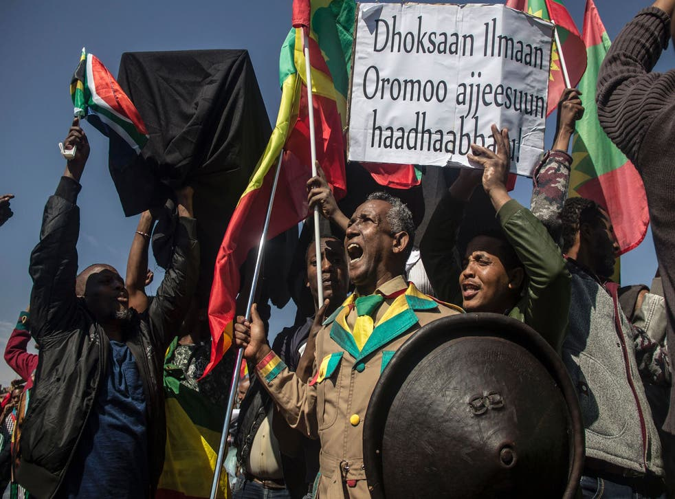 Members of the Oromo, Ogaden and Amhara community in South Africa demonstrate against the ongoing crackdown in the restive Oromo and Amhara region of Ethiopia on August 18, 2016