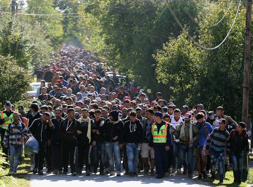 Hundreds of refugees who arrived by train at Hegyeshalom on the Hungarian and Austrian border walk into Austria on 22 September, 2015