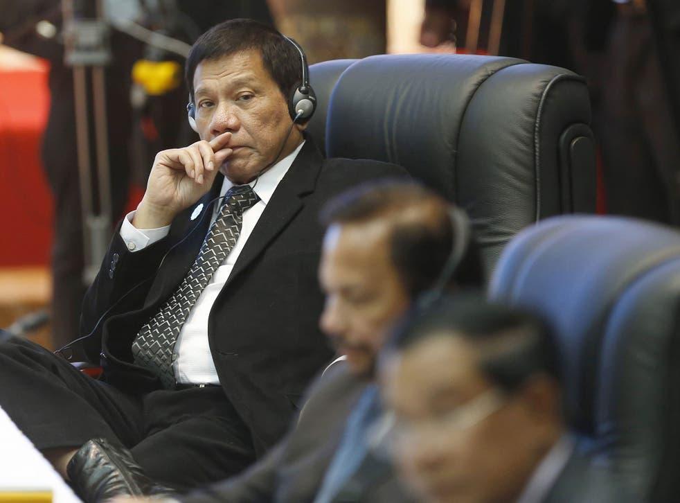 <p>President Rodrigo Duterte attending the Association of Southeast Asian Nations summit in Loas</p>