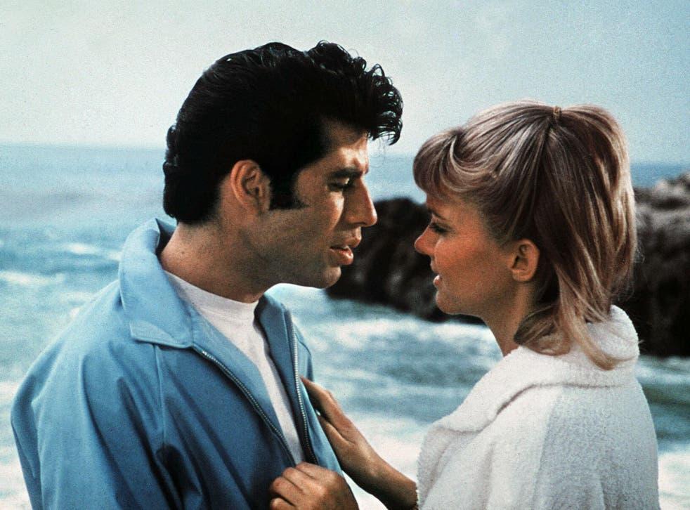 John Travolta and Olivia Newton-John as Danny and Sandy in Grease