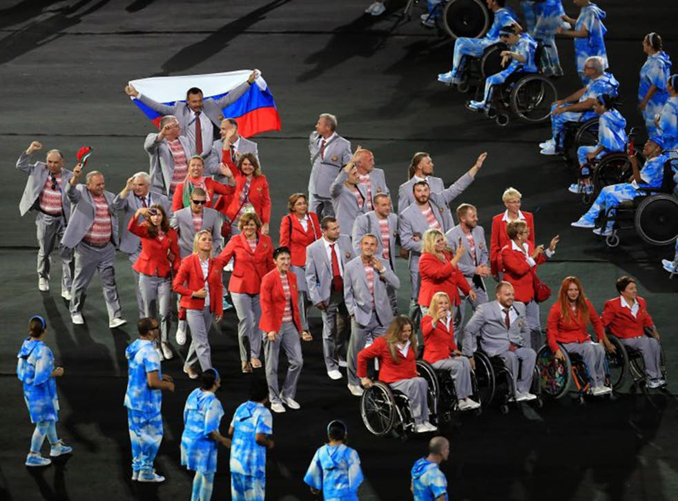 One member of the Belarus team carried out a pro-Russia protest during the Paralympic opening ceremony