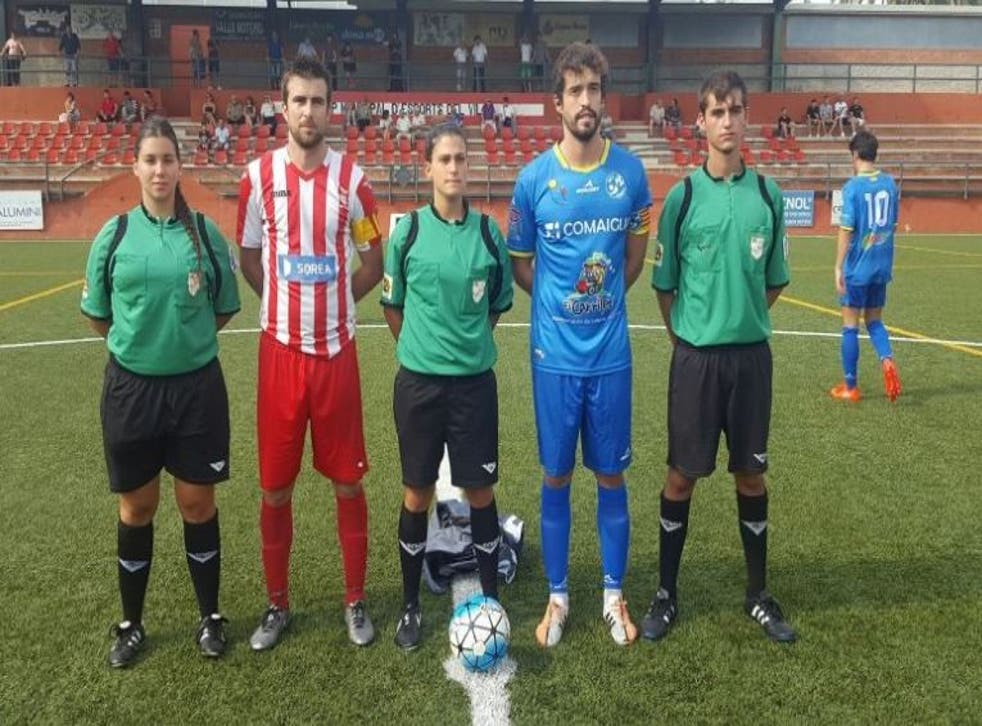 Marta Galego (centre) was subject to sexist abuse from the stands