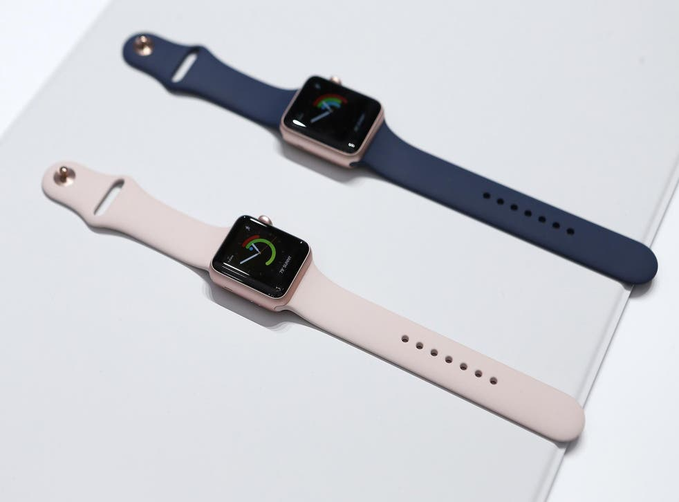 Versions of the Apple Watch Series 2 are displayed during an Apple media event in San Francisco, California, U.S. September 7, 2016