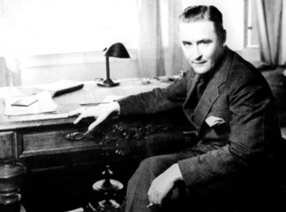 F Scott Fitzgerald at his writing desk in 1933