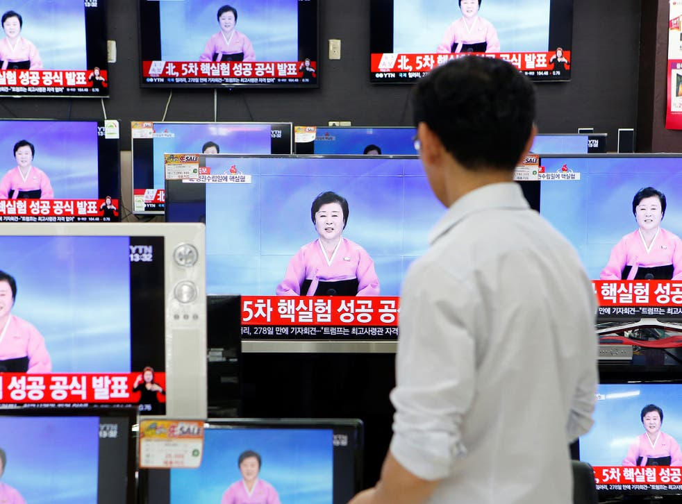 North Korean state TV announces news of the country's fifth nuclear test