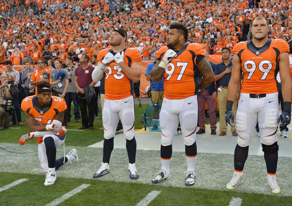 size 40 f77c4 178e1 Denver Bronco Brandon Marshall kneels to join Colin ...