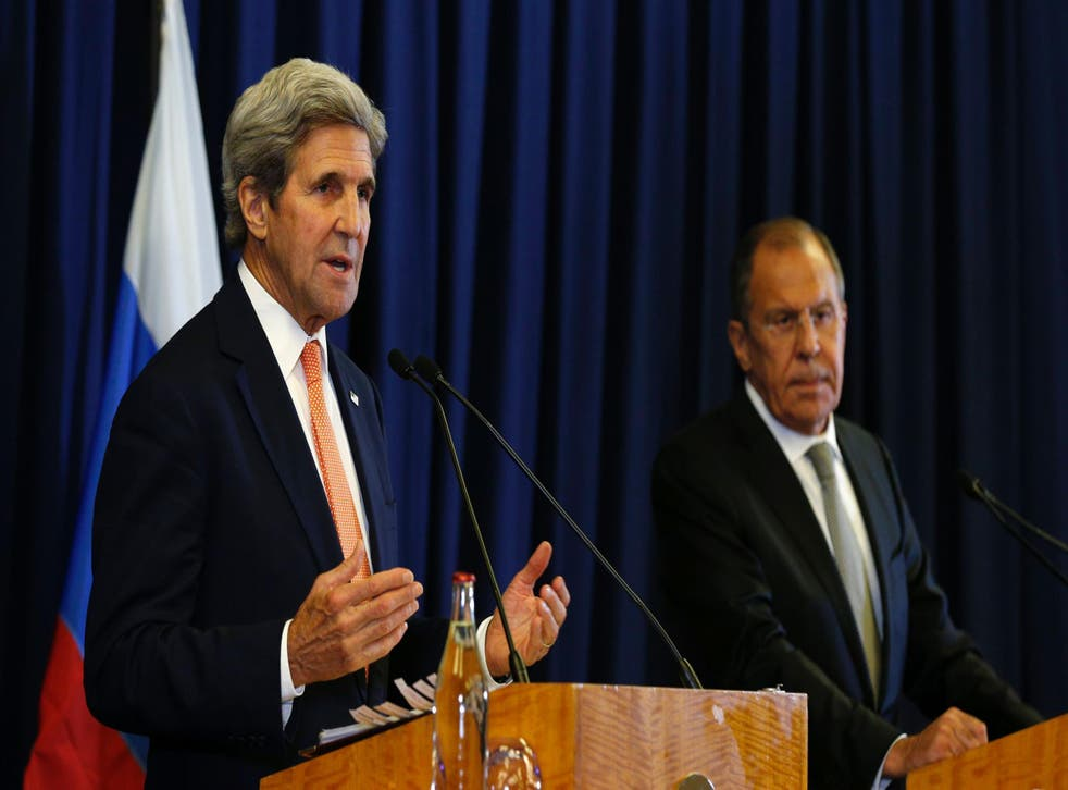 US Secretary of State John Kerry (L) and Russian Foreign Minister Sergei Lavrov attend a press conference after meetings to discuss the Syrian crisis went late into the evening on September 9, 2016, in Geneva. The United State and Russia on Friday agreed a plan to impose a ceasefire in the Syrian civil war and lay the foundation of a peace process, US Secretary of State John Kerry said.