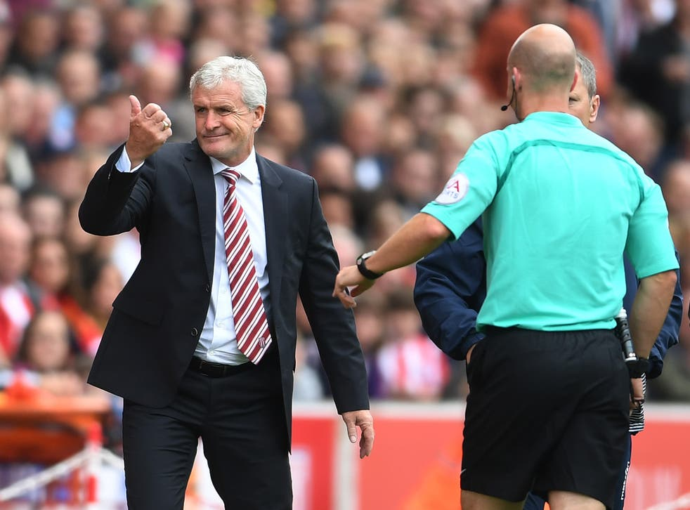 Mark Hughes insists he didn't swear at the referee