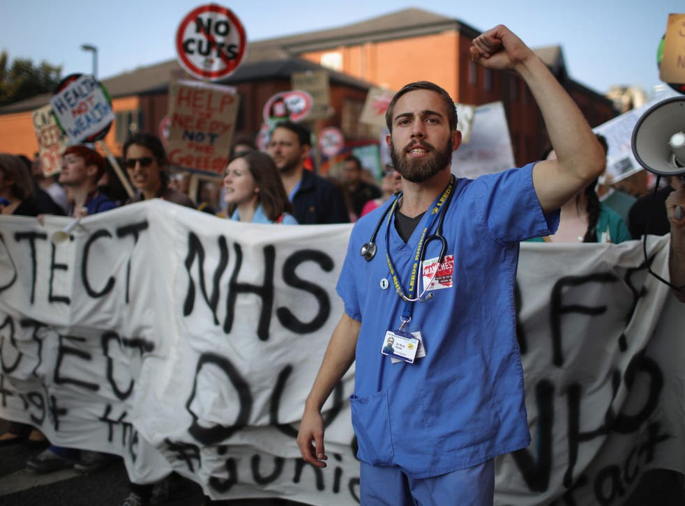NHS workers take part in an anti-austerity protest