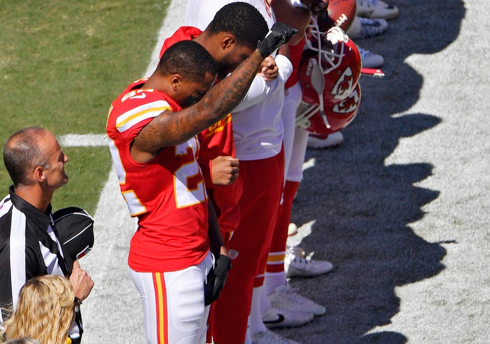 outlet store f810a d2a2e NFL Kansas City Chiefs player Marcus Peters protests during ...