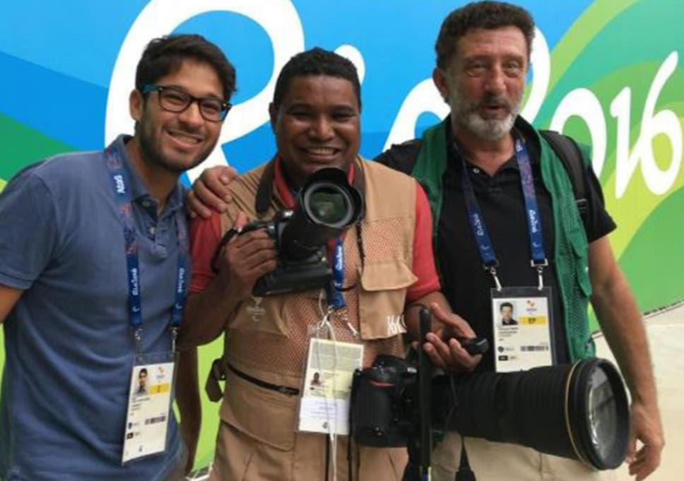 Joao Maia Centre With His Fellow Photographers At The Rio Paralympics
