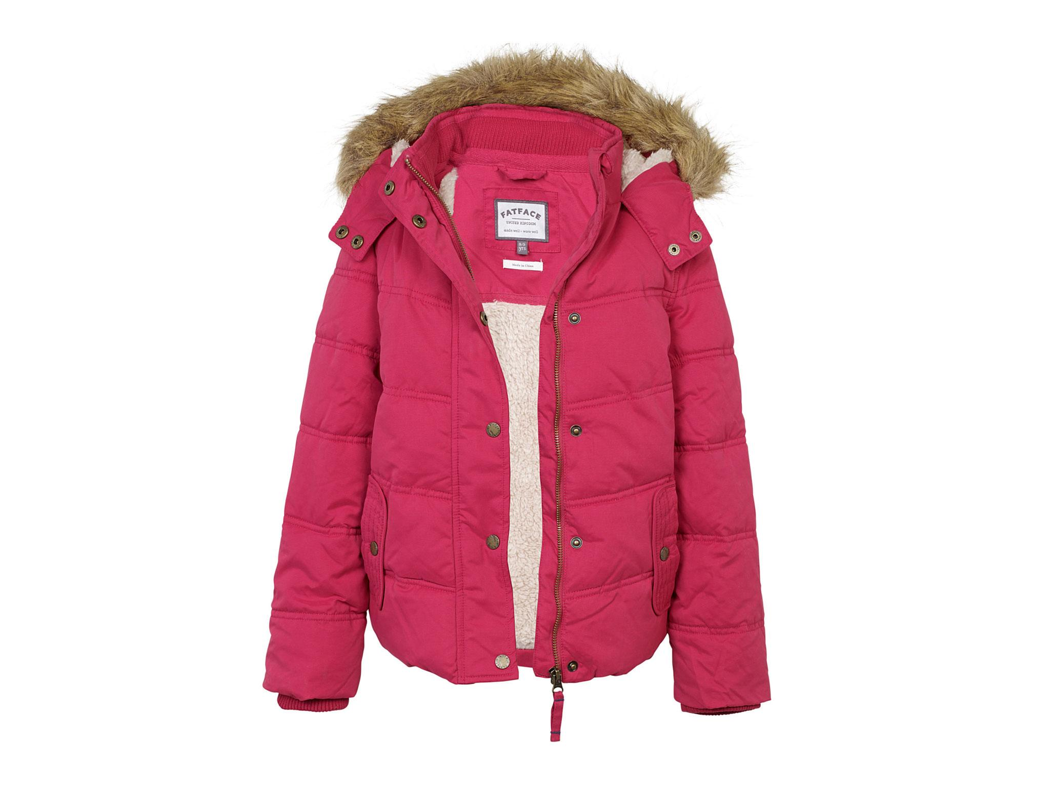9b989fd44 Available in blue or pink, this shower-resistant parka looks great. The  soft lining through the body and hood, together with the faux fur hood  trim, ...
