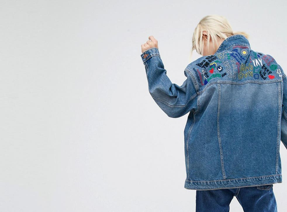 This Monki embroidered denim jacket is bang on trend, £50, asos.com