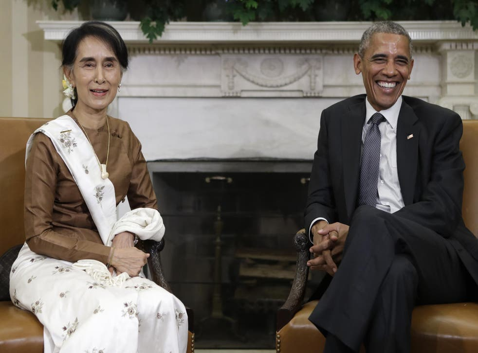 Barack Obama and Aung San Suu Kyi at the end of a meeting in Oval Office of the White House