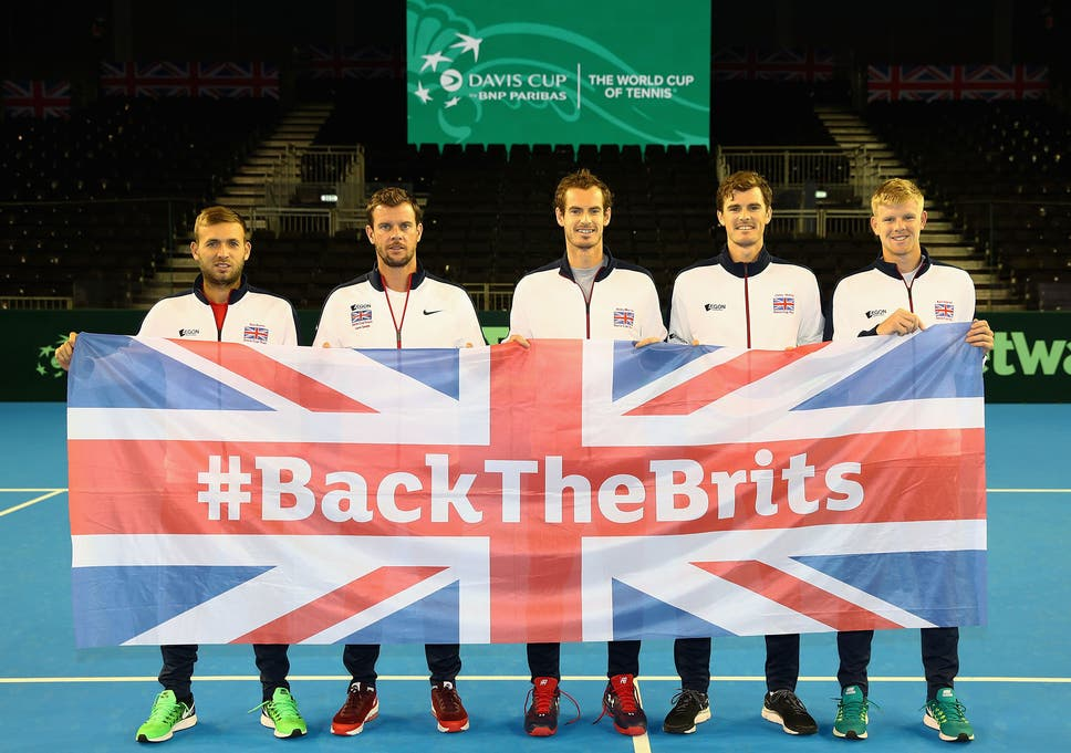 4318a1243 Andy Murray with his British teammates ahead of the Davis Cup semi-final  clash against